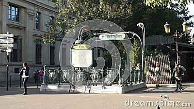 Metro Station Entrance In Paris Stock Video Video Of Metropolitan - Paris street map with metro stations
