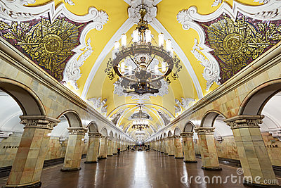 The metro station Komsomolskaya in Moscow, Russia