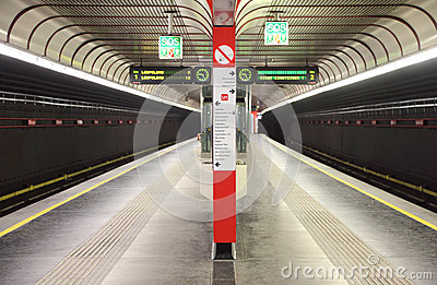 Metro station with two path