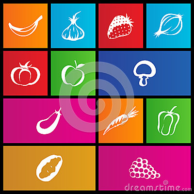 Metro style fruit and vegetable icons