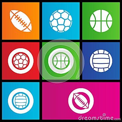 Metro style sports balls icons
