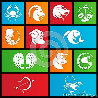 Metro style zodiac star signs