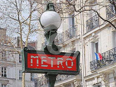 Metro (subway) sign in Paris