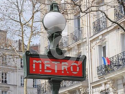 Metro (subway) sign in Paris