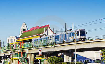 Metro Train Departing Chinatown Station Editorial Photography