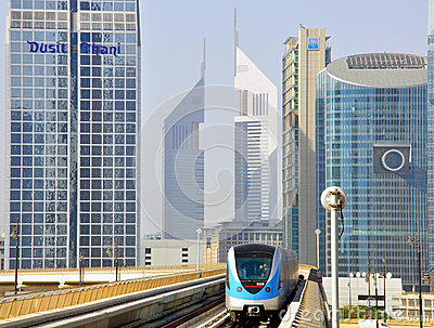 Metro train in Dubai UAE Editorial Stock Photo