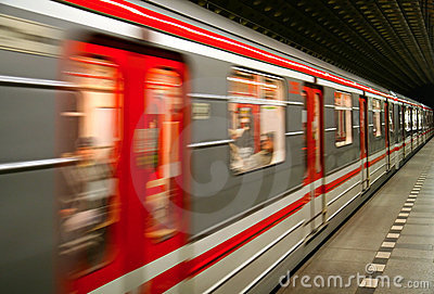 Metro train in motion