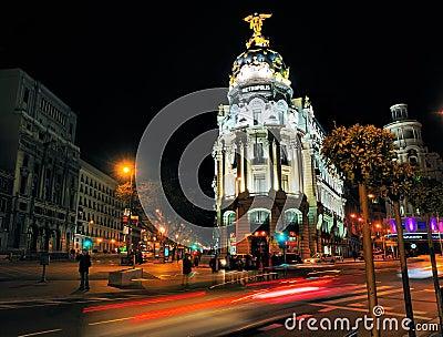 Metropolis Building by Night, Madrid Editorial Stock Photo