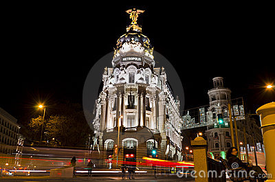 Metropolis at night in Madrid - Spain