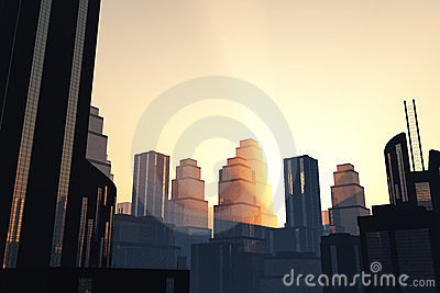 Metropolis skyscrapesrs Sunset/sunrise 3D render