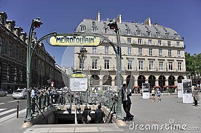 Metropolitan metro stop in paris, france Editorial Image