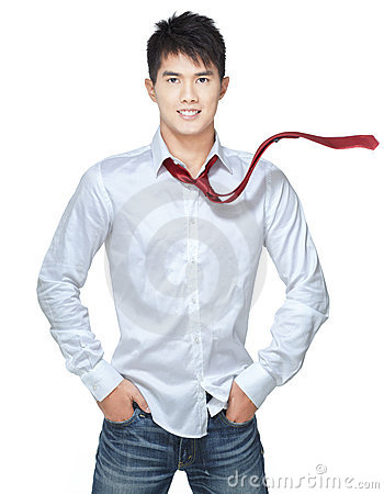 Metrosexual, handsome chinese hunk in white shirt