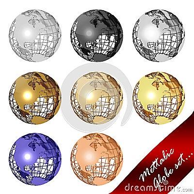 Mettalic globe set