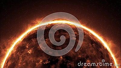 Mettez à la terre la planète de la mort de brûlure, extrémité du monde tournant Lava Earth en univers loopable illustration stock