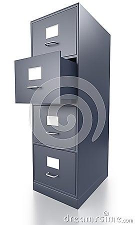 Meuble d 39 archivage gris simple avec le tiroir ouvert - Fermer un meuble ouvert ...