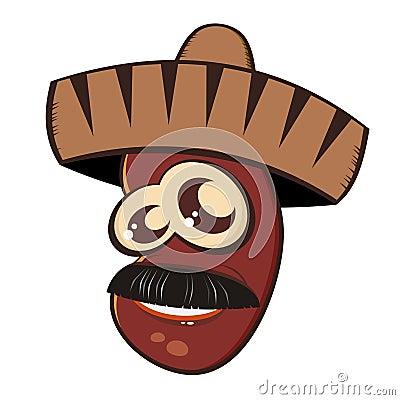 Mexican bean in sombrero