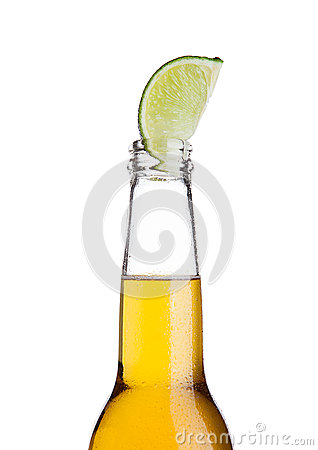 Free Mexican Beer Bottle With Lime Slice And Frost Stock Photo - 80000850
