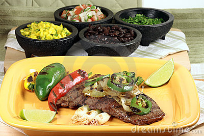 Mexican carne asada plate