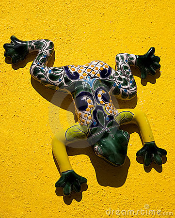 Mexican Ceramic Frog Yellow Wall Mexico
