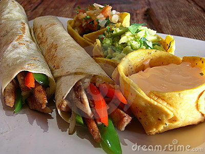Mexican chicken burritos
