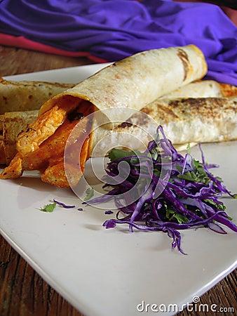 Mexican chicken burritos
