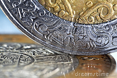 Mexican coins with a selective focus