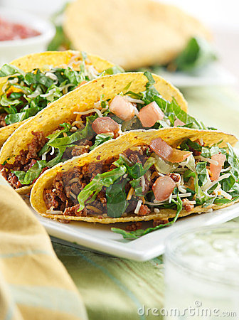 Free Mexican Cuisine - Three Beef Tacos Stock Photo - 23604010