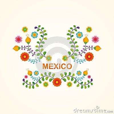 Free Mexican Ethnic  Flower Frame - Border Design Stock Photo - 105177960