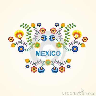 Free Mexican Ethnic  Flower Frame - Border Design Stock Images - 105178024