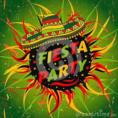 Mexican Fiesta Party Label With Sombrero And Confetti ...