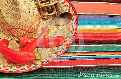 Mexican fiesta poncho frame sombrero chilli