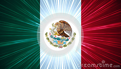 Mexican flag with light rays