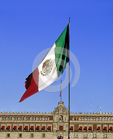 Mexican Flag and National Palace