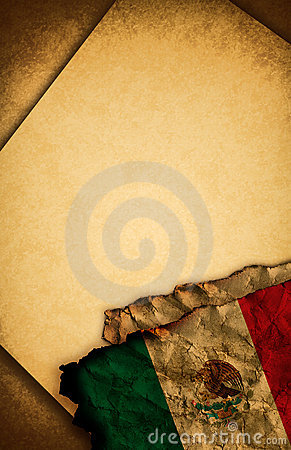 Mexican flag and old paper