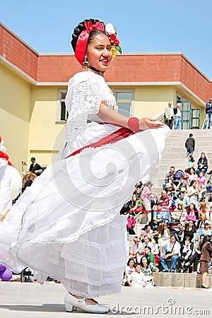 Mexican girl performs folk dance Editorial Photo