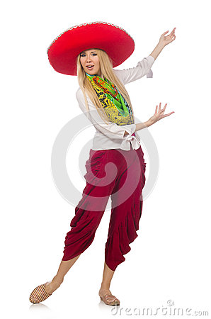 Free Mexican Girl With Sombrero Dancing On White Stock Images - 62470054