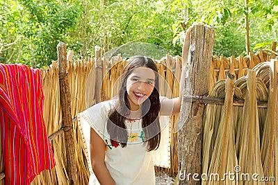 Mexican indian Mayan latin girl in jungle