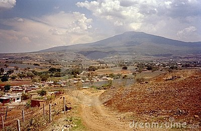 Mexican Landscape With Cactus Plants, Hot Air And Tumbleweed In ...