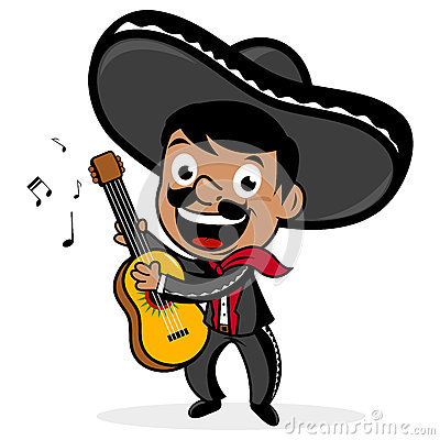 Mexican mariachi man wearing a sombrero, smiling, singing and playing ...