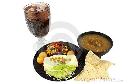 Mexican Meal On Small Black Plate