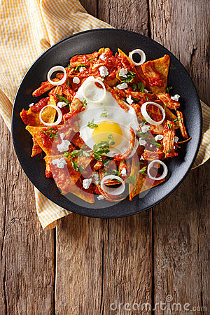Free Mexican Nachos With Tomato Salsa, Chicken And Egg Close-up. Vert Stock Photography - 90997622