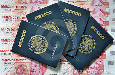Mexican passport and money