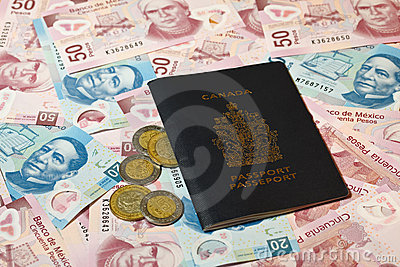 Mexican pesos and Canadian passport