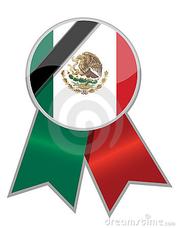 Mexican ribbon with black memorial stripe