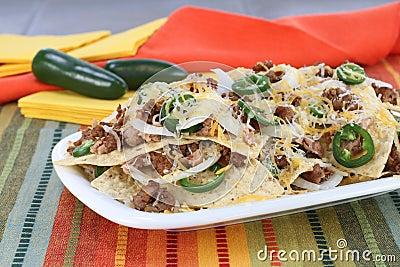 Mexican Sausage, Bean and Cheese Nachos