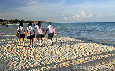 Mexican schoolgirls´ beach walk Editorial Image