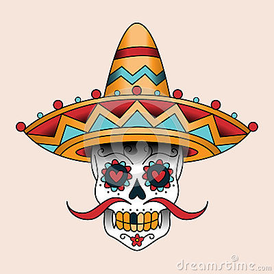 mexican scull stock vector image 51292293