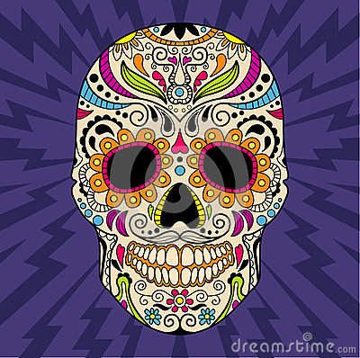 Free Mexican Skull, The Original Pattern. Vector Royalty Free Stock Photo - 51274685