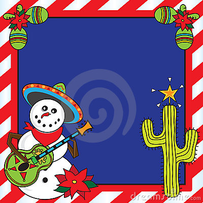 Free Mexican Snowman Christmas Card Royalty Free Stock Image - 17031386