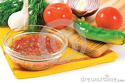 Mexican spicy fresh sauce salsa
